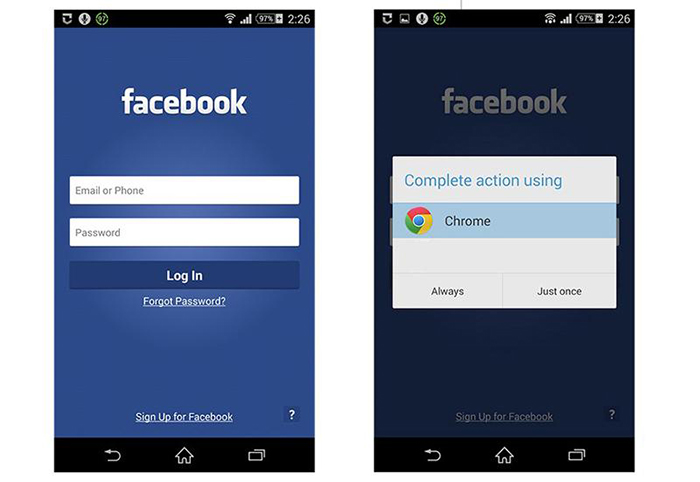 Envoi vers Navigatuer Application mobile Facebook